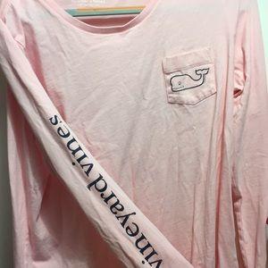 Light pink long sleeve Vineyard Vines tee